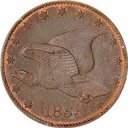 1855 Large Flying Eagle cent. J-168. P-193. S-PT1a. R-4. PR65RB PCGS (PS), 1st. Gen holder. Gem Proo