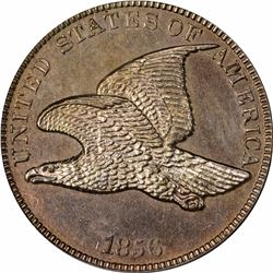 1856 Flying Eagle cent, Ornamental shield. J-184. P-220. S-PT1a. R6. PR61 PCGS (PS), OGH. Proof (10: