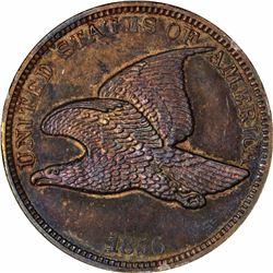 1856 Flying Eagle cent, Ornamental shield. J-185. P-221. S-PT1b. R7. PR64BN PCGS (PS), 1st. Gen hold