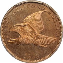 1858 Flying Eagle cent / Oak Wreath. J-192, P-235, S-PT13. Rarity 5. PR65 PCGS Gem Proof (12: 3,4,5)