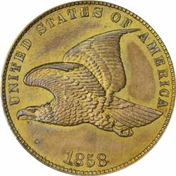 1858 Flying Eagle cent - Small Letters, Ornamental Shield reverse. J-193. P-236. S-PT11. R5. PR63 PC
