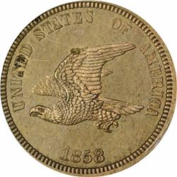 1858 Small Eagle, Ornamental Shield. J-204. P-248. S-PT17. R4. PR62 PCGS. 1st. Gen. Holder. Proof (7