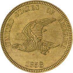 1858 Small Eagle, Laurel Wreath – 5 leaf. J-202a. P-245. S-PT19. R5. PR64 PCGS (PS). 1st. Gen. Holde