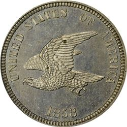 1858 Small Eagle, Reverse of 1858 – Low Leaves. J-207a. P-244. S-PT16d. High R7. PR64 PCGS (PS). OGH