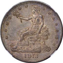 1873 Trade Dollar. Breen-5779, Broken Serifs. MS-64 NGC.