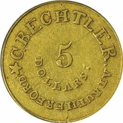 August 1, 1834. C. Bechtler $5 Gold. Kagin-17. Rarity-5. With 140 G, No Beads. Plain Edge. EF-45 PCG