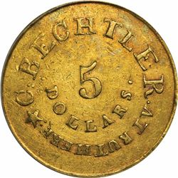 August 1, 1834. C. Bechtler $5 Gold. Kagin-19. Rarity-5. With 140 G., 20 Distant. Plain Edge. EF-40