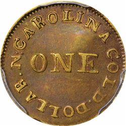 Undated (1831-1834) C. Bechtler Gold Dollar. Kagin-1a. Rarity-8, Unique. 30 G., Plain Edge. EF-45 PC