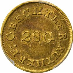 Undated (1834-1837) C. Bechtler Gold Dollar. Kagin-3a. Rarity-8. 28.G Centered, Plain Edge. EF-45 PC