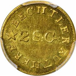 Undated (1834-1837) C. Bechtler Gold Dollar. Kagin-4. Rarity-4. 28: G: Centered, Reversed N. MS-63 P