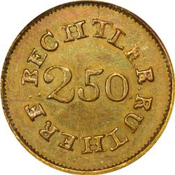Undated (1834-1840) C. Bechtler $2.50 Gold. Kagin-11. Rarity-5+. 64.G., 22 Uneven. MS-62 NGC. CAC.