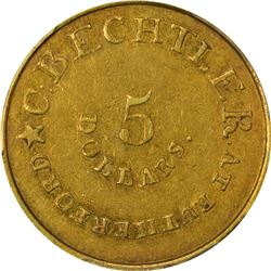 August 1, 1834. C. Bechtler $5 Gold. Kagin-16a. Rarity-8. With 140 G, No Beads. Plain Edge. AU-55 PC