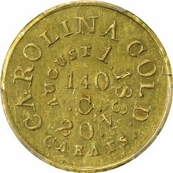 August 1, 1834. C. Bechtler $5 Gold. Kagin-17a. Rarity-8, Unique. With 140 G, No Beads. Finely Reede