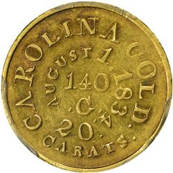 August 1, 1834. C. Bechtler $5 Gold. Kagin-17b. Unique. With 140 G, No C, No Star. Plain Edge. EF-45