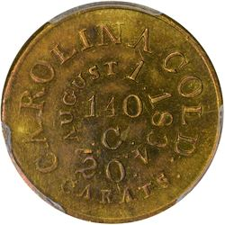 August 1, 1834. C. Bechtler $5 Gold. Kagin-18. Rarity-6+. With 140 G. Plain Edge. AU-53 PCGS.