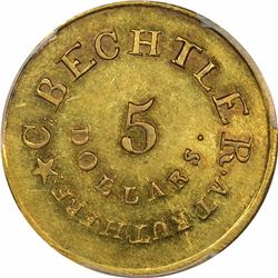 August 1, 1834. C. Bechtler $5 Gold. Kagin-19. Rarity-5. With 140 G., 20 Distant. Plain Edge. MS-61