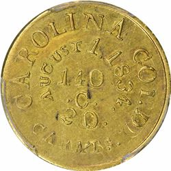 August 1, 1834. C. Bechtler $5 Gold. Kagin-19. Rarity-5. With 140 G., 20 Distant. Plain Edge. Double