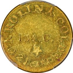 Undated (1834). C. Bechtler $5 Gold. Kagin-20. Rarity-5. With 134 G., Star. Plain Edge. Prooflike. M