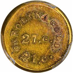 Undated (1842-1850). A. Bechtler $1 Gold. Kagin-24. Rarity-4. 27 G., 21 Carats. Plain Edge. Carolina