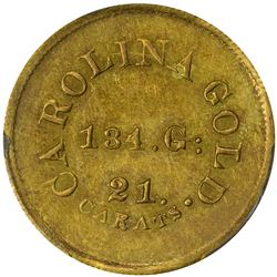 Undated (1842-1846). A. Bechtler $5 Gold. Kagin-27. Rarity-5. With 134 G., 21 Carats. Reeded Edge. A