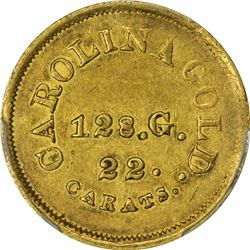 Undated (1842-1846). A. Bechtler $5 Gold. Kagin-28. Rarity-5+. With 128 G., 22 Carats. Reeded Edge.