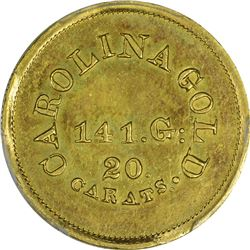 Undated (1842-1846). A. Bechtler $5 Gold. Kagin-29. Rarity-6+. With 141 G., 20 Carats. Reeded Edge.