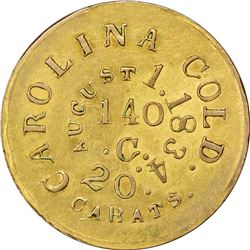 Counterfeit Bechtler Gold $5. August 1, 1834. Kagin-CTF-5 (K-17). 140 G, 20 C. Carolina Gold. Brass