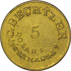 Counterfeit C. Bechtler $5 Gold. Kagin-CTF-9 (K-20-like Fantasy Die/K-23). With 128 G., 22 Carats, S