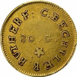 Undated (1831-1834) C. Bechtler Gold Dollar. Kagin-1. Rarity-4. 30 G., Reeded Edge. EF-40 PCGS.