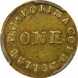 Undated (1834-1837) C. Bechtler Gold Dollar. Kagin-3. Rarity-6+. 28.G Centered, Reeded Edge. AU-58 P