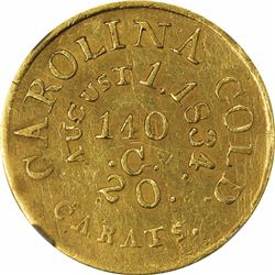 August 1, 1834. C. Bechtler $5 Gold. Kagin-19. Rarity-5. With 140 G., 20 Distant. Plain Edge. AU-53