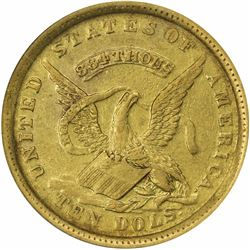 1852 Augustus Humbert. USAOG, San Francisco. $10. Kagin-12a. Reeded Edge. 884 THOUS. Rarity-5. EF-45