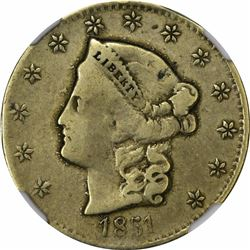 1851 San Francisco Standard Mint $5. Kagin-1 (page 352 of Private Gold Coins and Patterns of the Uni