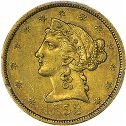 1852 Wass, Molitor & Co. $5. Small Head, Rounded Bust. Kagin-1. Rarity-Low R-7. AU-50 PCGS.