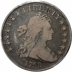 1798 Heraldic or Large Eagle, Pointed 9. B-25, BB-123. Rarity-4. VG-10 PCGS.