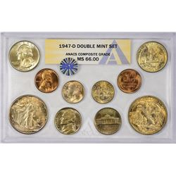 1947-PDS U.S. Mint 28-Piece Double Mint Set with Original Envelope. Certified by ANACS, verified ori