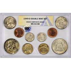 1949-PDS U.S. Mint 28-Piece Double Mint Set with Original Envelope. Certified by ANACS, verified ori
