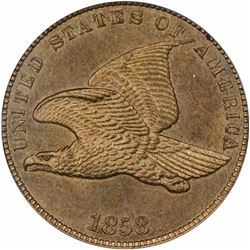 1858 Flying Eagle cent / Oak Wreath. J-191, P-233, S-PT14. Rarity 5. PR64 PCGS (OGH) (Eagle Eye Phot