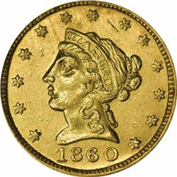 1860 Clark, Gruber & Co. Gold $2.50. Kagin-1. Rarity-4. EF-40 PCGS. OGH.