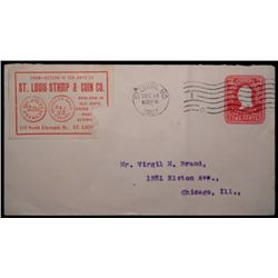 "Paper envelope 6 ¼"" X 3 ¼"" postmarked DEC 14/6 30 P M 1907 ST. LOUIS, MO. With cancelled U. S. Two C"
