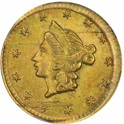 1853 D. N. Round Half D., BG-408. Die State I (fresh obverse). AU58 PCGS.