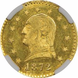 1872 Round ¼ Dollar Washington Head, BG-818. MS64 NGC.