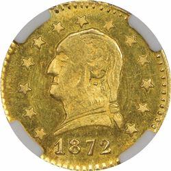 1872 Round ¼ Dollar Washington Head, BG-818. MS64 NGC.