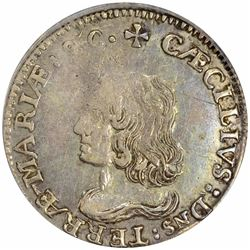 (1659) Maryland. Lord Baltimore Coinage. Silver Sixpence. No period after final I in MINI. AU50 PCGS