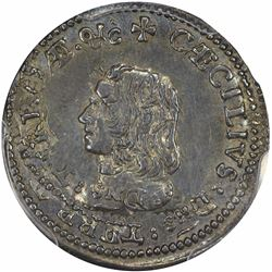 (1659) Maryland. Lord Baltimore Coinage. Large Bust. Silver Fourpence. MS62 PCGS.