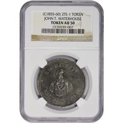 Hawaii Token. Undated (1855-1860) John T. Waterhouse. 2TE-1. Lead. Reeded Edge. AU-50 NGC.