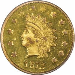 "1872 Round 1 Dollar, BG-1207. Coin turn—""normal"" Reverse. MS62 PCGS."