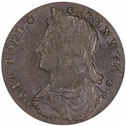 1787 Connecticut copper. Draped Bust Left. M.41.3-Y (R.2). MS61 BN PCGS.