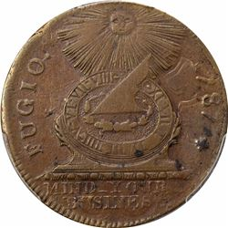 1787 Fugio Copper. Pointed rays, cross after date, no cinquefoils, UNITED STATES. XF45 PCGS.