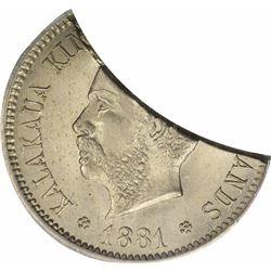 1881 Five-Cents. Hawaiian Nickel. Genuine – PCGS.